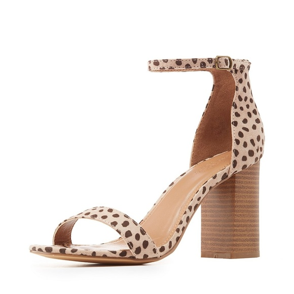 285f50b0e6ebd0 Charlotte Russe Shoes - Leopard Print Two-Piece Chunky Heel Sandals